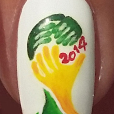 Brasil World Cup 2014 trophy nail art by Margriet Sijperda