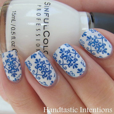 Blue and White Ceramic Inspired nail art by Andrea