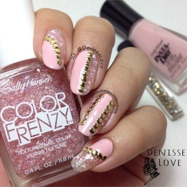 Pink+Studs nail art by Denisse Love