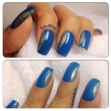 Blue Side French nail art by Reina