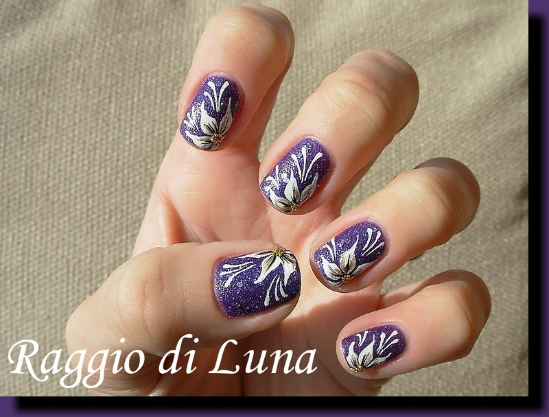 White flower on textured purple nail art by Tanja