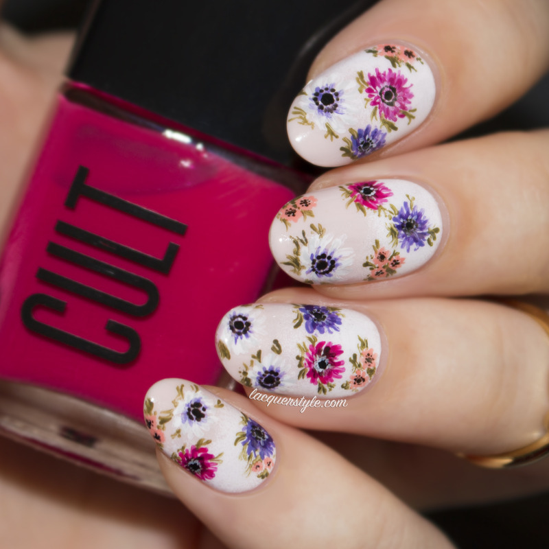 Anemone Inspired Floral Nails nail art by Kristin (Lacquerstyle)