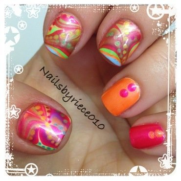 Neon Water Marbling nail art by Riece