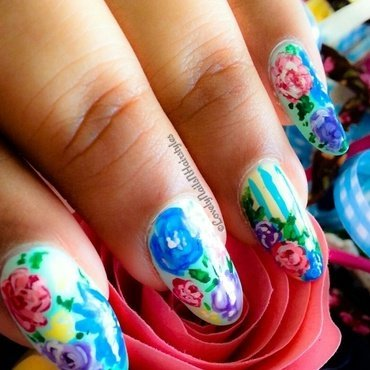 Shabby Chic/ Vintage Floral nail art by Lovely Mishra