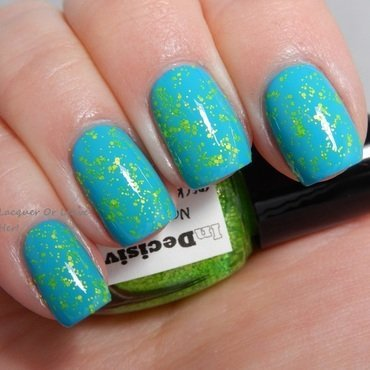 Color Club Evolution and InDecisive Nail Lacquer Speckled Neon Green Swatch by Lacquer or Leave Her! Michelle Chouinard