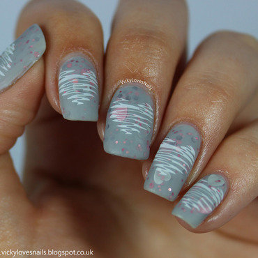 Cute Matte Stamped Hearts nail art by Vicky Standage