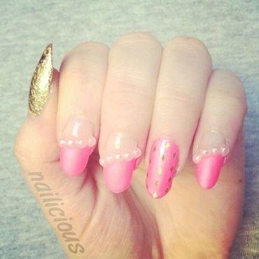 hot pink nails nail art by nailicious_1