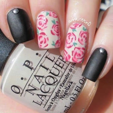 Matte Black Vintage Flowers nail art by Ann-Kristin