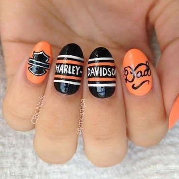 Biker Dad nail art by Kasey Campa