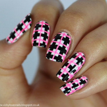 Neon Check nail art by Vicky Standage