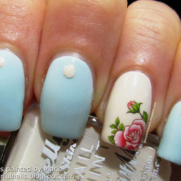 Blue Manicure with Rose Accent Nail nail art by Marie