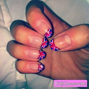 Union Jack tips nail art by Charlotte Speller