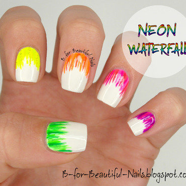 Neon Waterfall nail art by B.