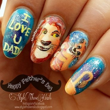 The Lion King inspired Father's Day Nails nail art by Anita Style Those Nails