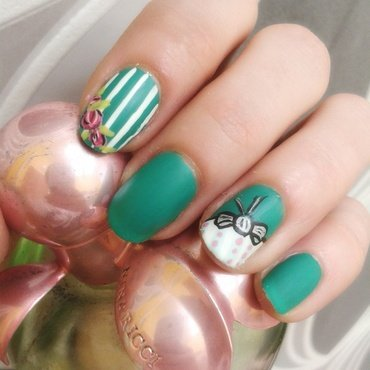 Romantic teal nail art by Km.Lucy