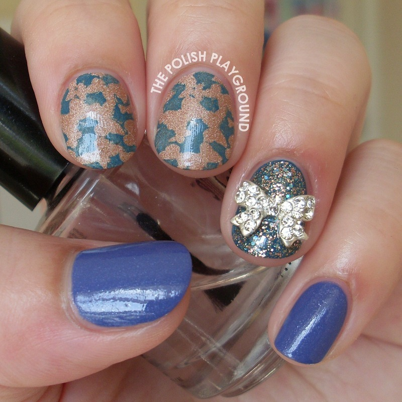 Butterfly Effect with Bow Stud nail art by Lisa N