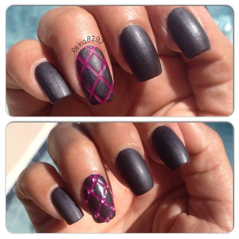 Matte Velvet nail art by Reina