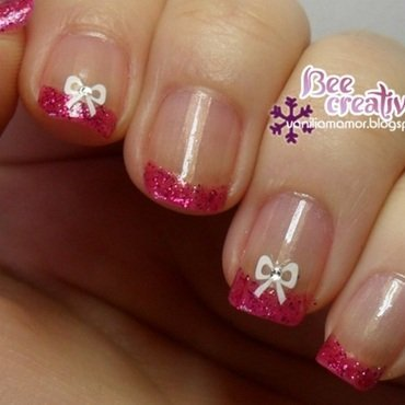 Pink french mani with bows nail art by Isabella