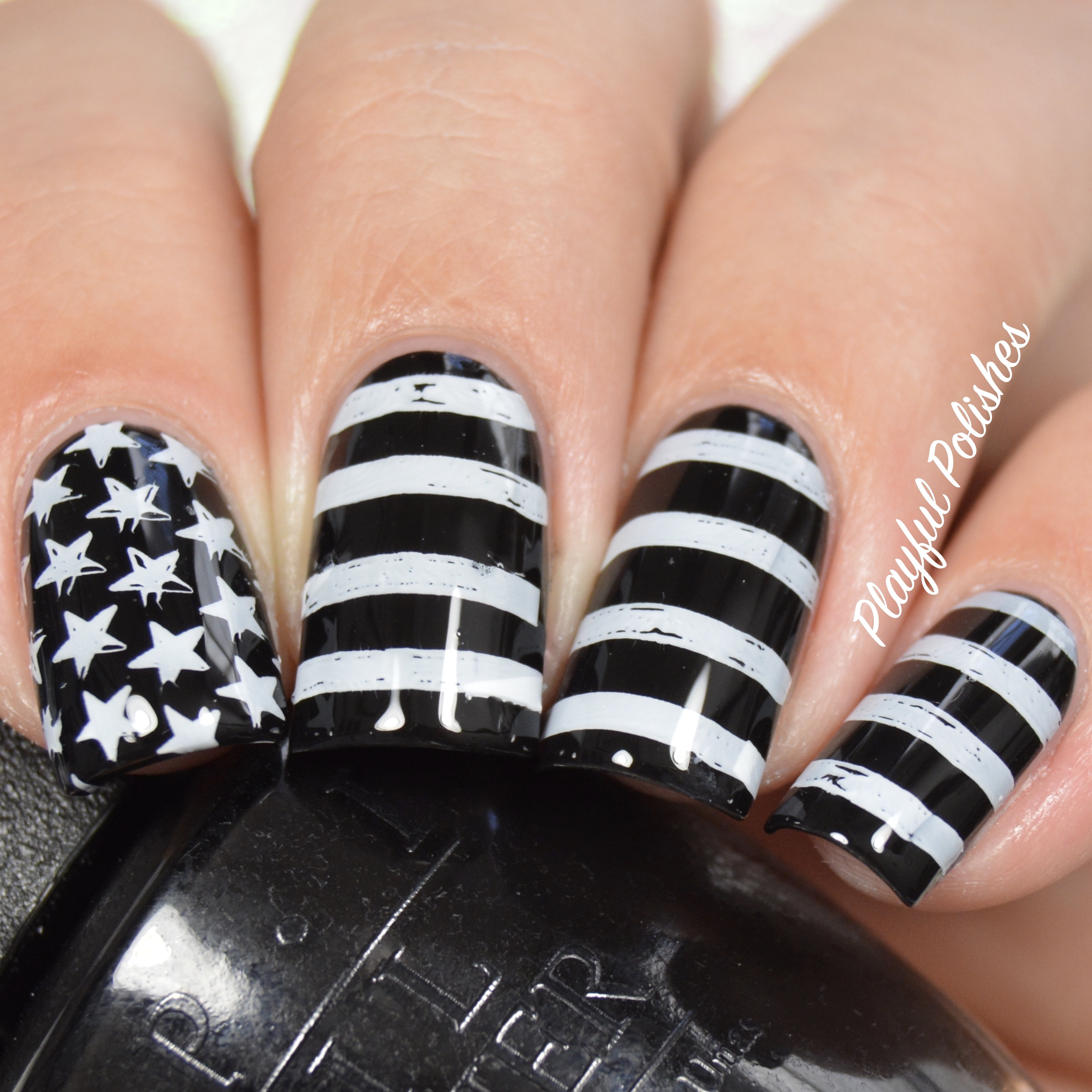 31DC2016 - Day 28, Inspired by a Flag nail art by Playful Polishes