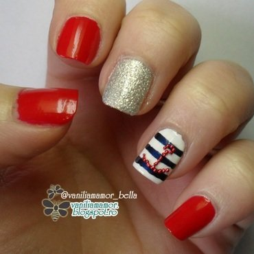Nautical nail art by Isabella