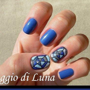Spider web blue mosaic nail art by Tanja