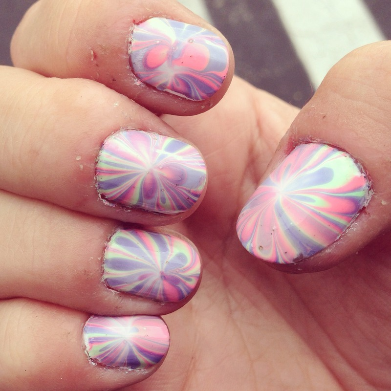 Neon watermarble nail art by Megan Lagerson