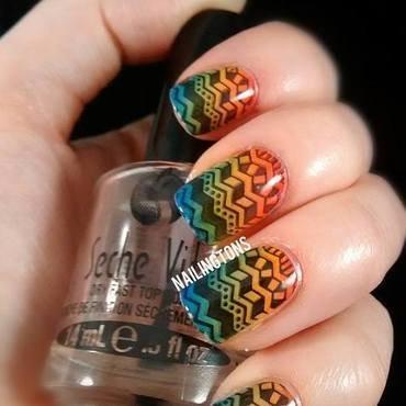 Rainbow Gradient Tribal Nails nail art by Nailingtons