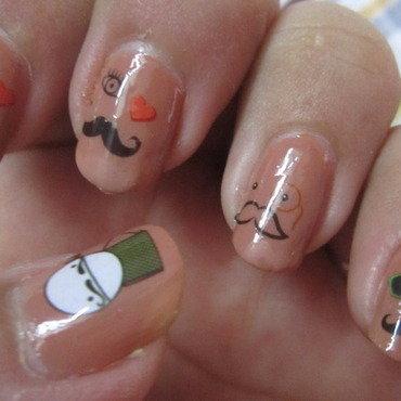 Cute Mustaches Nail Art nail art by HerCreativePalace (kanika)