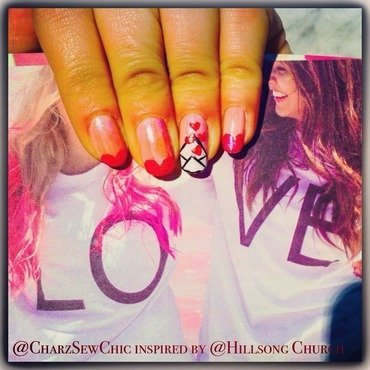 Love sent through the post  nail art by Charlotte Speller