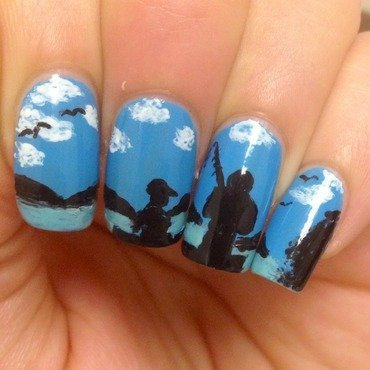 Fishing with Dad nail art by Ghada