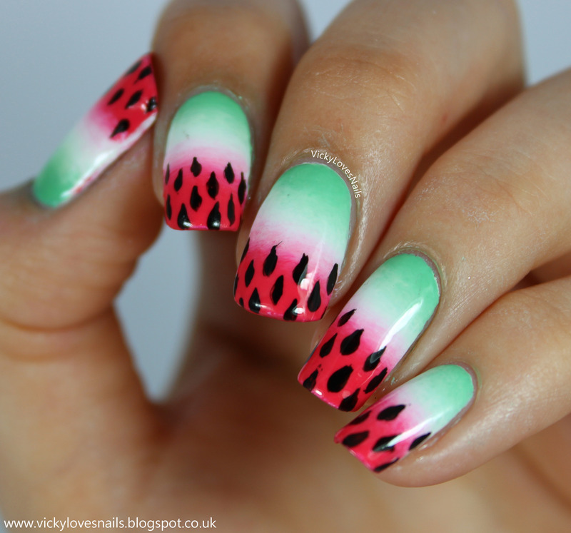 Watermelon Gradient nail art by Vicky Standage