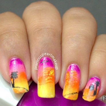Sunset Nails nail art by Pearl P.