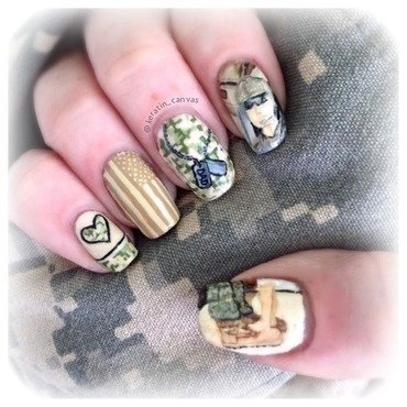Military Father's Day nail art by Amanda