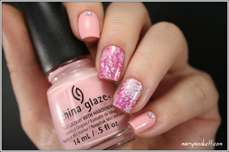 Pink Nail Patch nail art by Mary Monkett