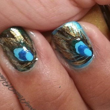 Peacock Feathers nail art by Lovely Mishra