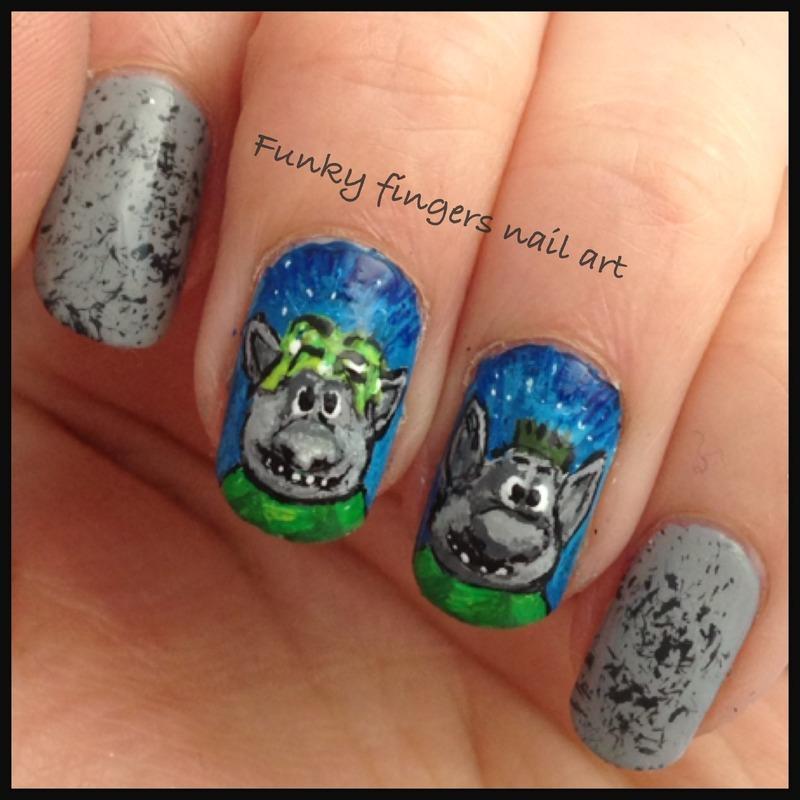 Trolls Movie Nail Art: Trolls From Frozen Nail Art By Funky Fingers Nail Art