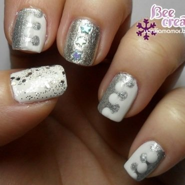 White-silver combination nail art by Isabella