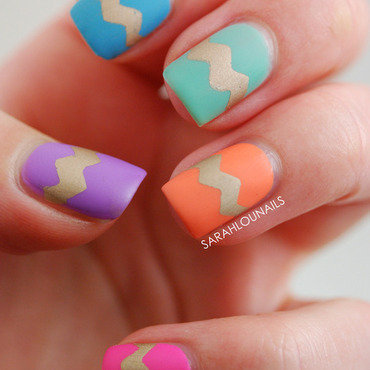 Chevron Matte Easter Nails! nail art by Sarah S