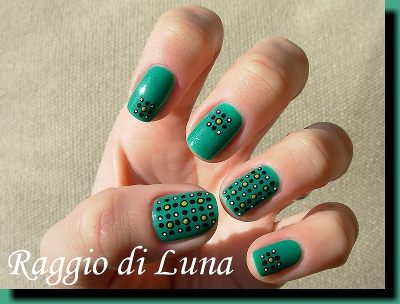 Dotticure on green nail art by Tanja