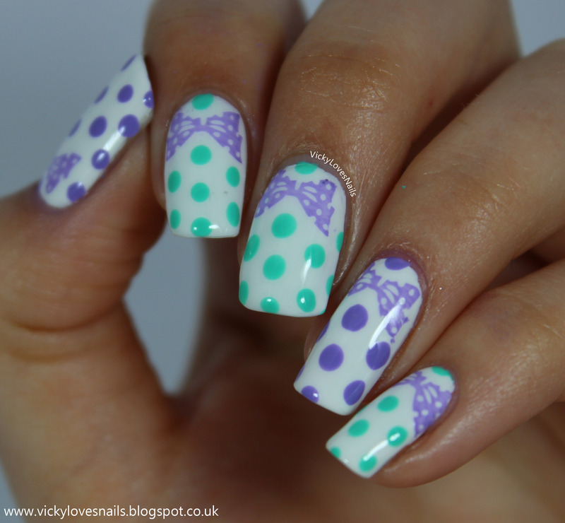 Stamped Bows Dotticure nail art by Vicky Standage