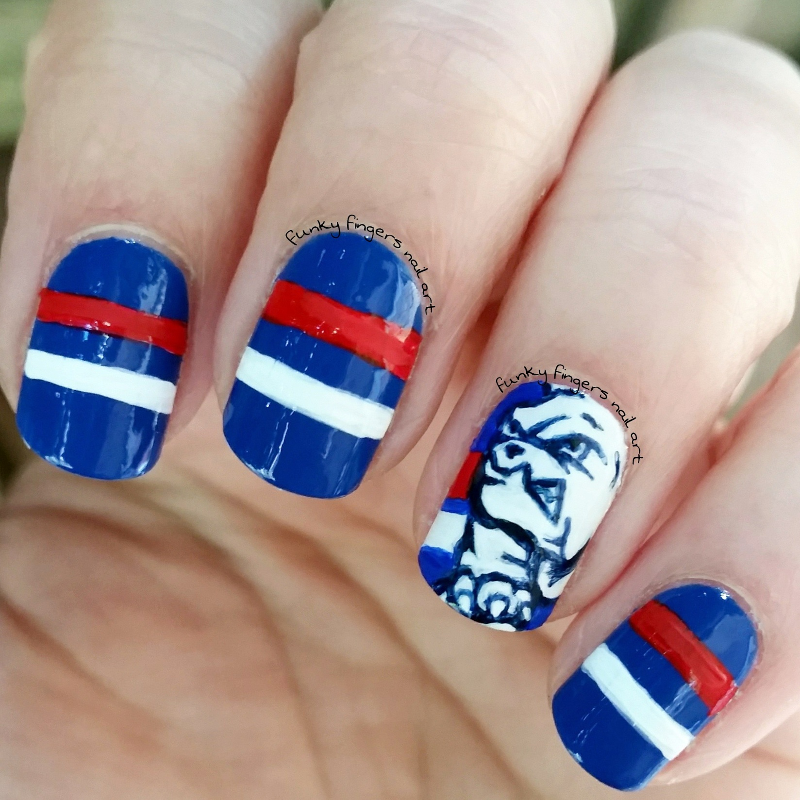 Bulldogs football nails nail art by Funky fingers nail art