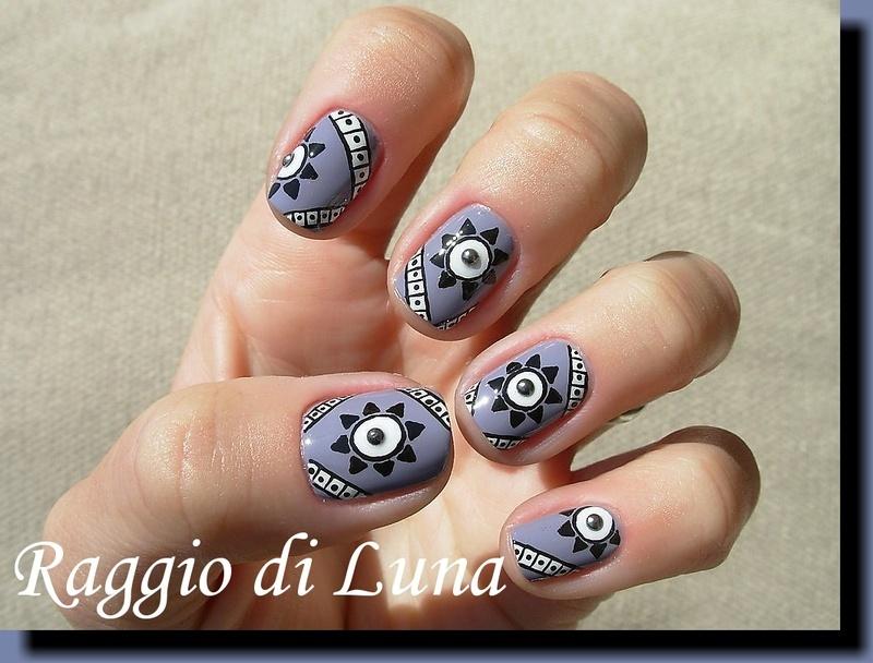 Tribal on purple nail art by Tanja