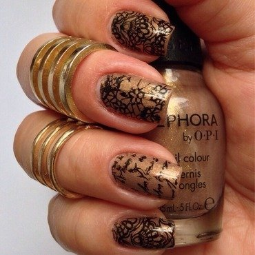 Bronze Lace Stamped Nails nail art by Debbie