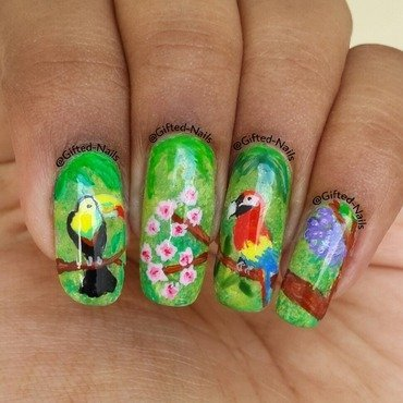 Tropical birds nails nail art by Gifted_nails