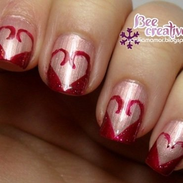 Abstract heart nail art by Isabella