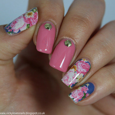 Floral Nail Wraps with Hexagonal Studs nail art by Vicky Standage