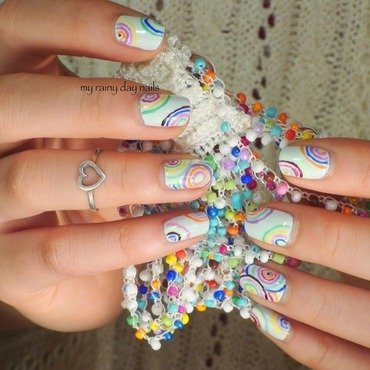 Colorful Circle Nail Art nail art by Nova Qi (My Rainy Day Nails)