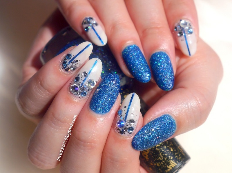 Blue Jewel nail art by Anhy