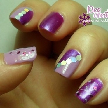 Radiant Orchid nail art by Isabella