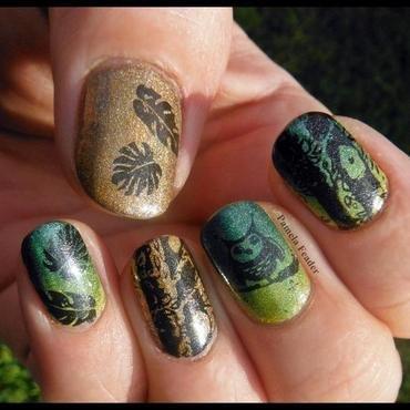 Green & Bronze Owl nail art by Pamela Feader